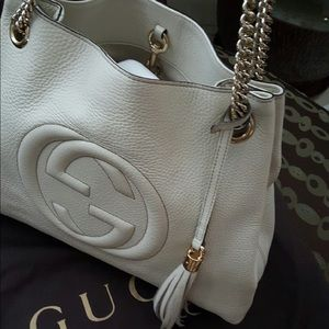 Gucci Hobo Soho Bone Leather Shoulder Bag